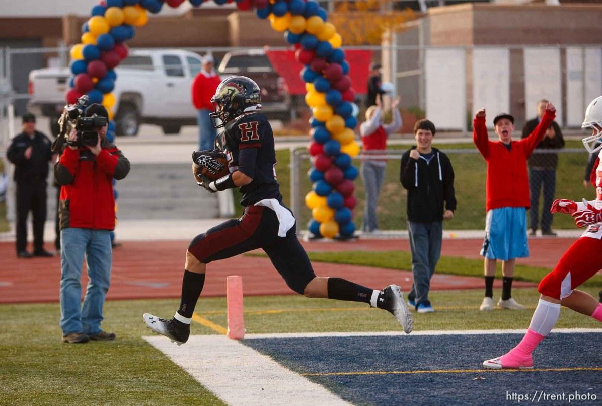 Trent Nelson | The Salt Lake Tribune Herriman's Connor Johnson scores a touchdown. Herriman vs. East high school football, Saturday October 27, 2012 in Herriman, Utah.