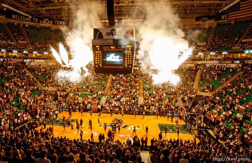Trent Nelson | The Salt Lake Tribune Fireworks kick off the season opener as the Utah Jazz host the Dallas Mavericks, NBA basketball, Wednesday October 31, 2012 at EnergySolutions Arena in Salt Lake City, Utah.