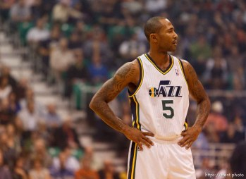 Trent Nelson | The Salt Lake Tribune Utah Jazz guard Mo Williams (5) on the court as the Utah Jazz host the Dallas Mavericks, NBA basketball, Wednesday October 31, 2012 at EnergySolutions Arena in Salt Lake City, Utah.