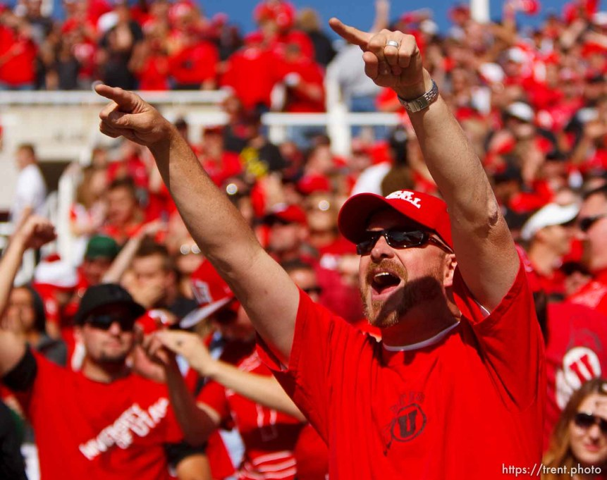 Trent Nelson | The Salt Lake Tribune Utah fans cheer on their team as Utah hosts Washington State, college football at Rice-Eccles Stadium Saturday November 3, 2012 in Salt Lake City.