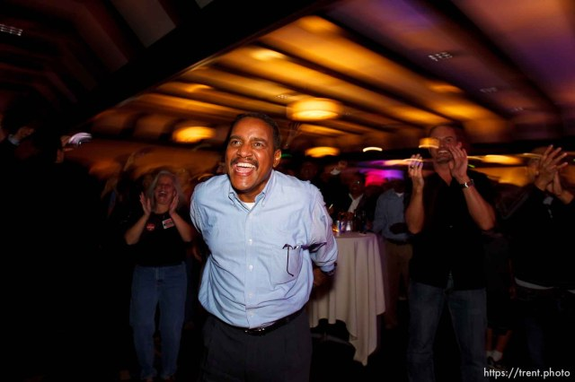 Trent Nelson | The Salt Lake Tribune Hussein Adawe reacts to the re-election of Barack Obama at the Salt Lake Sheraton Hotel, Democratic headquarters on election night Tuesday November 6, 2012 in Salt Lake City.