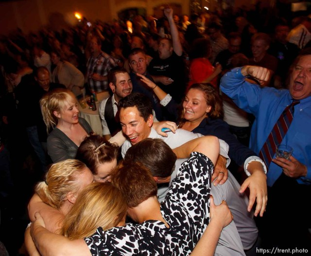 Trent Nelson | The Salt Lake Tribune Celebration as a Barack Obama victory is announced at the Salt Lake Sheraton Hotel, Democratic headquarters on election night Tuesday November 6, 2012 in Salt Lake City.