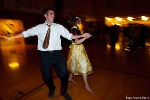 Trent Nelson | The Salt Lake Tribune Chelsea Markham and Tom Christiansen at a dance at the Salt Lake University Institute of Religion, Friday November 16, 2012 in Salt Lake City.