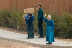flds kids with honk signs, Friday November 30, 2012.
