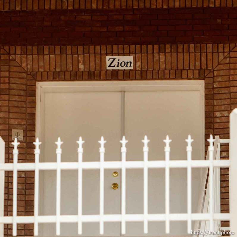 zion over door, Friday November 30, 2012. warren jeffs home