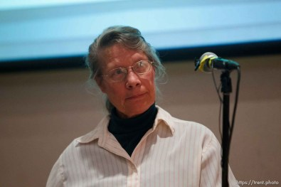 Trent Nelson | The Salt Lake Tribune Charlotte Wyler speaks during a community meeting regarding the United Effort Plan (UEP) trust Friday November 30, 2012 in Colorado City.