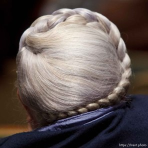 Trent Nelson | The Salt Lake Tribune woman's hair. UEP community meeting Friday November 30, 2012 in Colorado City.