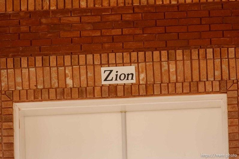 Zion sign over door, warren jeffs home, Friday November 30, 2012.