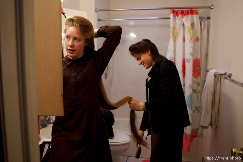 Trent Nelson | The Salt Lake Tribune Helen Holm working on Allie Steed's hair Saturday December 1, 2012 in Colorado City. The two young women recently left the FLDS church.