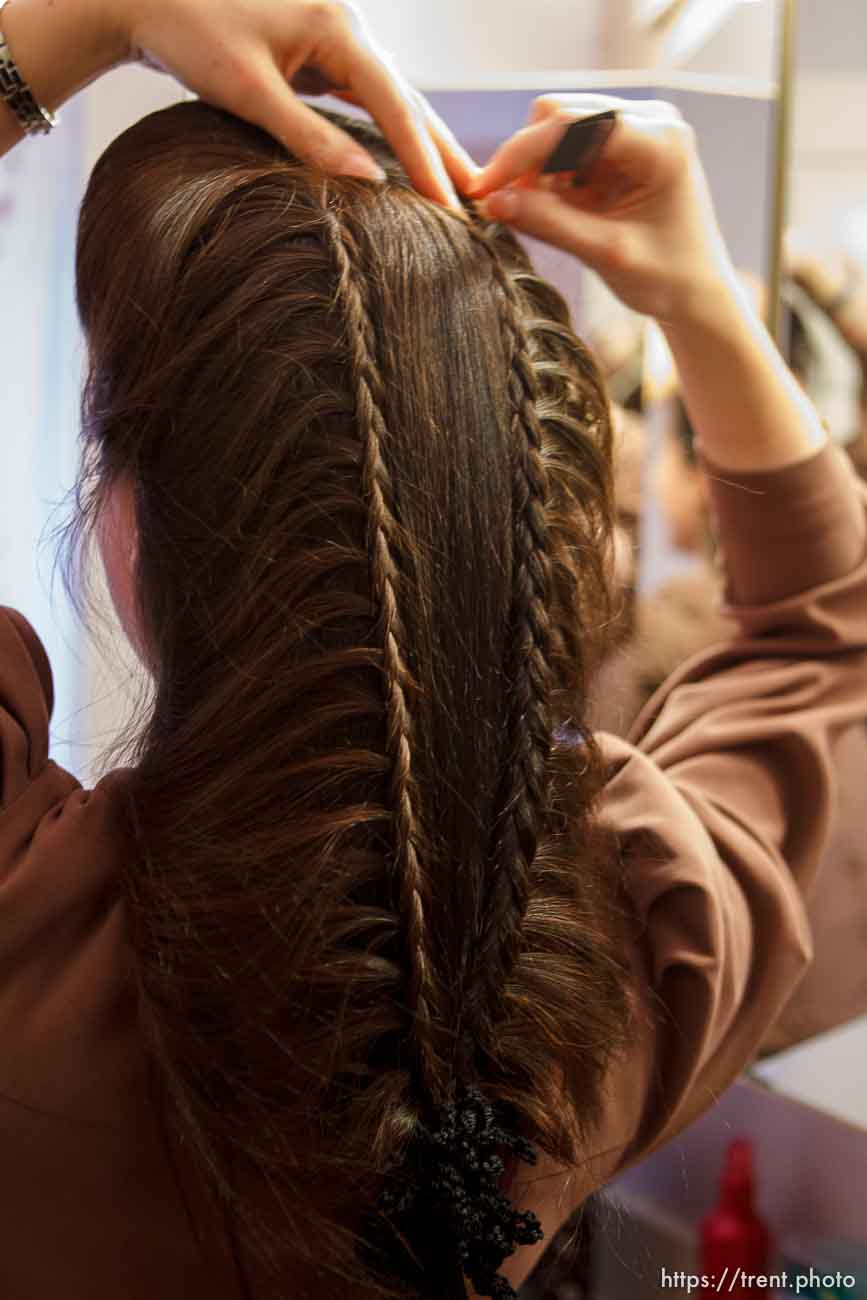 Trent Nelson | The Salt Lake Tribune Heidi Holm does her hair Saturday December 1, 2012 in Colorado City. Holm recently left the FLDS church.