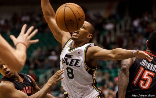 Trent Nelson | The Salt Lake Tribune Utah Jazz point guard Randy Foye (8) loses the ball as the Utah Jazz face the Toronto Raptors Friday December 7, 2012.