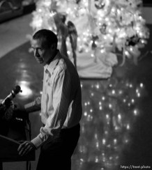 Trent Nelson | The Salt Lake Tribune Robbie Parker speaks during a public memorial for his daughter, Emilie Parker, at Ben Lomond High School in Ogden, Thursday December 20, 2012. Parker was killed in the Sandy Hook Elementary School shooting.