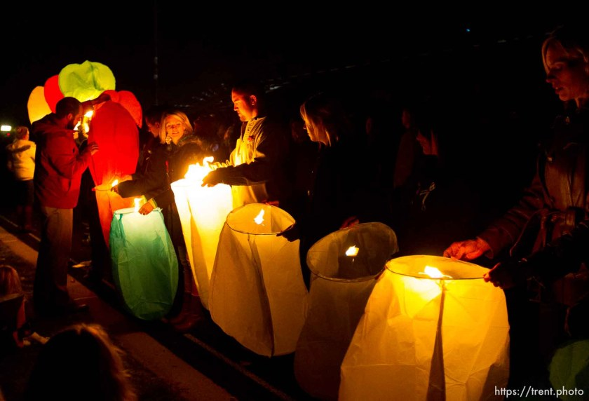 Trent Nelson | The Salt Lake Tribune Lanterns are lit and released for the victims killed in the Sandy Hook Elementary School shooting following a public memorial for Emilie Parker at Ben Lomond High School in Ogden, Thursday December 20, 2012.