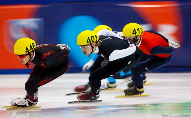 Trent Nelson | The Salt Lake Tribune Aaron Tran (446), Chris Creveling (401) and Keith Carroll Jr. (413) race in the Men 1000 Meters Semifinal during the US Short Track Championship at the Olympic Oval in Kearns, Saturday December 22, 2012.