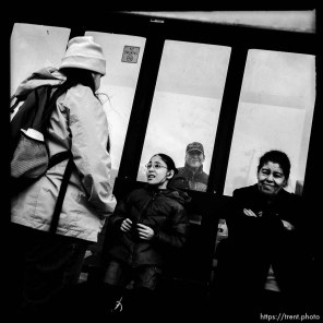 people at bus stop. south state project.
