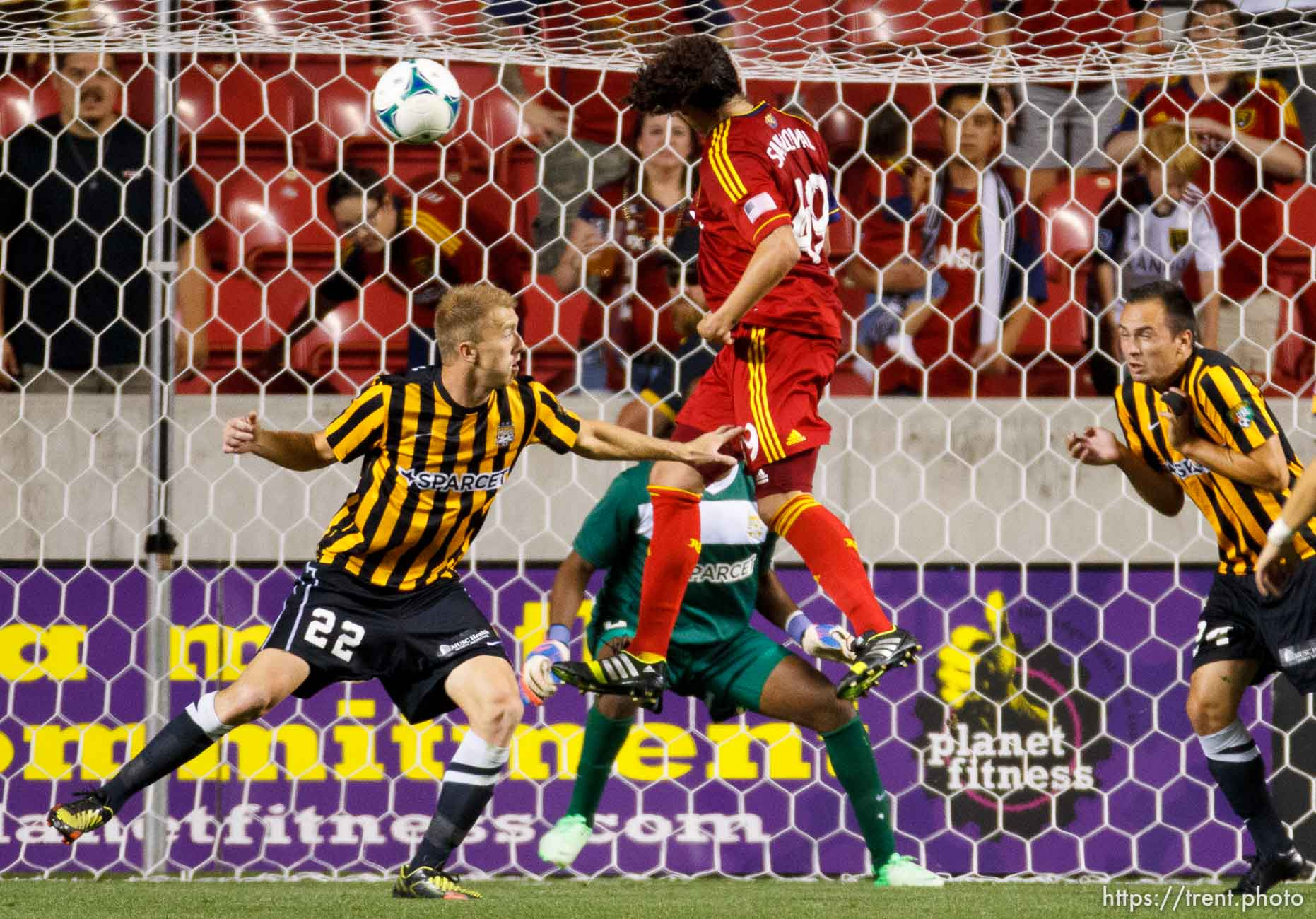 Trent Nelson | The Salt Lake Tribune Real Salt Lake's Devon Sandoval heads in a goal in the first overtime period as Real Salt Lake hosts Charleston Battery in the US Open Cup Wednesday June 12, 2013 at Rio Tinto Stadium in Sandy, Utah.