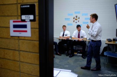 Trent Nelson | The Salt Lake Tribune Aaron Proctor, right, teaches a Thai language class with missionaries Brigham Shipley and Benjamin Black at the Missionary Training Center of the Church of Jesus Christ of Latter-day Saints in Provo Tuesday June 18, 2013.