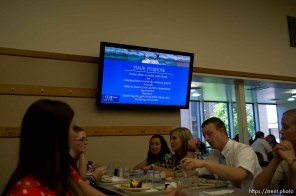 Trent Nelson | The Salt Lake Tribune A video screen offers information in the cafeteria of the Missionary Training Center of the Church of Jesus Christ of Latter-day Saints in Provo Tuesday June 18, 2013.