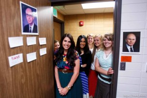 Trent Nelson   The Salt Lake Tribune Missionaries gather in the doorway to the dorm room they share at the Missionary Training Center of the Church of Jesus Christ of Latter-day Saints in Provo Tuesday June 18, 2013.