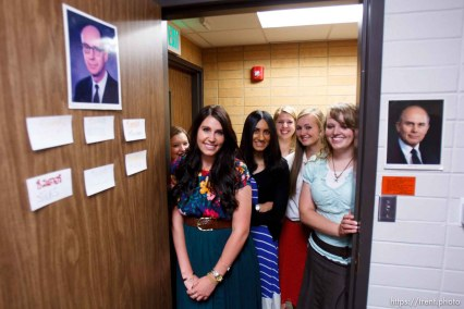 Trent Nelson | The Salt Lake Tribune Missionaries gather in the doorway to the dorm room they share at the Missionary Training Center of the Church of Jesus Christ of Latter-day Saints in Provo Tuesday June 18, 2013.