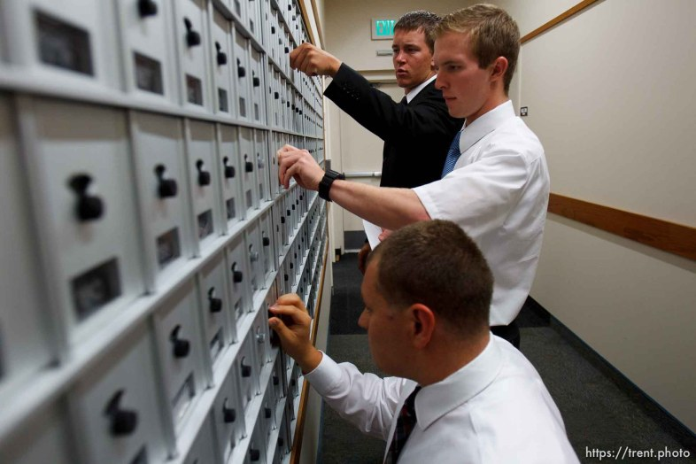 Trent Nelson   The Salt Lake Tribune Missionaries check for mail at the Missionary Training Center of the Church of Jesus Christ of Latter-day Saints in Provo Tuesday June 18, 2013. Front to rear, Steven Johnson, Jonathan Wagstaff and Quincy Cox.