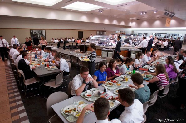Trent Nelson | The Salt Lake Tribune Missionaries eat lunch in the cafeteria at the Missionary Training Center of the Church of Jesus Christ of Latter-day Saints in Provo Tuesday June 18, 2013.