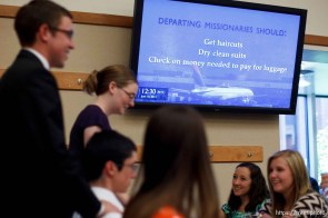 Trent Nelson | The Salt Lake Tribune A video screen offers advice to departing missionaries at the Missionary Training Center of the Church of Jesus Christ of Latter-day Saints in Provo.