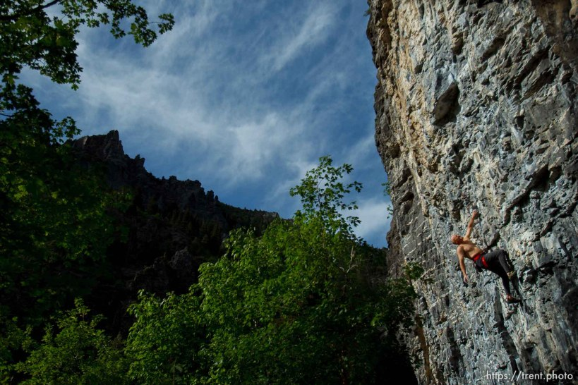 Trent Nelson   The Salt Lake Tribune Gordon Douglass climbs the Division Wall, Wednesday June 19, 2013 in American Fork Canyon.