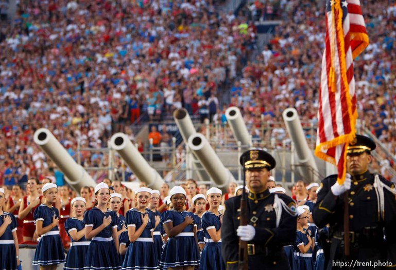 Trent Nelson | The Salt Lake Tribune Presentation of the colors at the Stadium of Fire Thursday July 4, 2013 in Provo.