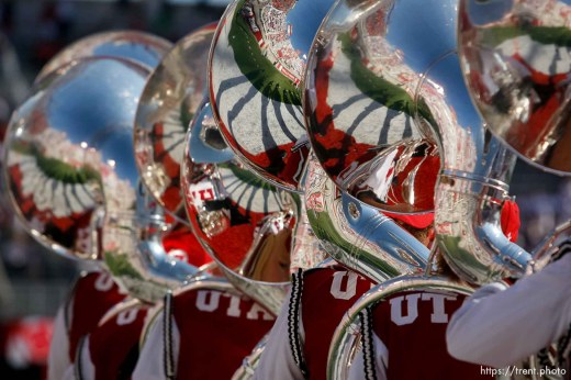 Trent Nelson | The Salt Lake Tribune The tuba section of the Utah Marching Band as the University of Utah hosts Utah State, college football Thursday, August 29, 2013 at Rice-Eccles Stadium in Salt Lake City.
