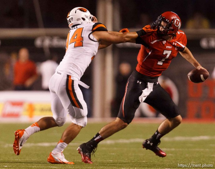 Trent Nelson | The Salt Lake Tribune Oregon State Beavers defensive end Devon Kell (94) chases down Utah Utes quarterback Travis Wilson (7) as the University of Utah hosts Oregon State, college football at Rice Eccles Stadium Saturday, September 14, 2013 in Salt Lake City. Kell was called for a facemask penalty on the play.