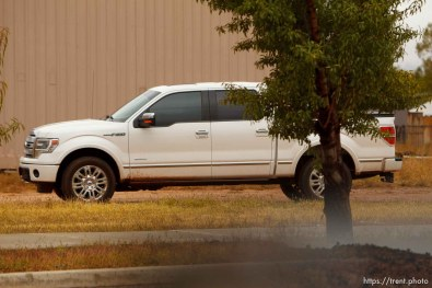Trent Nelson | The Salt Lake Tribune truck that was observing me near at bishop's storehouse in Colorado City Thursday, October 10, 2013. maybe FLDS security