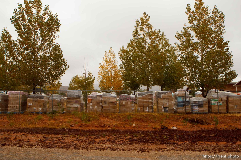 Trent Nelson | The Salt Lake Tribune supplies loaded on pallets for transport in Hildale Thursday, October 10, 2013.