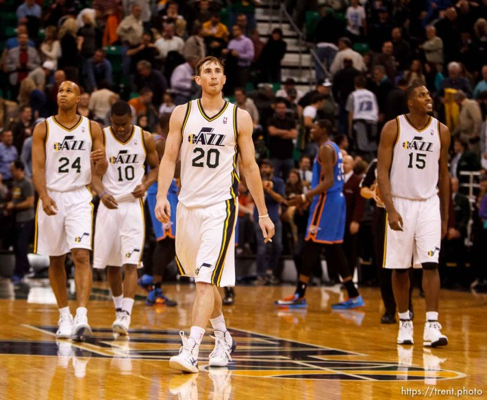 Trent Nelson | The Salt Lake Tribune Utah Jazz guard Gordon Hayward (20) walks off the court after missing the final shot of the game as the Utah Jazz host the Oklahoma City Thunder, NBA Basketball at EnergySolutions Arena in Salt Lake City, Wednesday October 30, 2013.