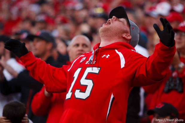 Trent Nelson | The Salt Lake Tribune A Utah fan reacts to the game as the University of Utah hosts Arizona State, college football at Rice-Eccles Stadium in Salt Lake City, Saturday November 9, 2013.