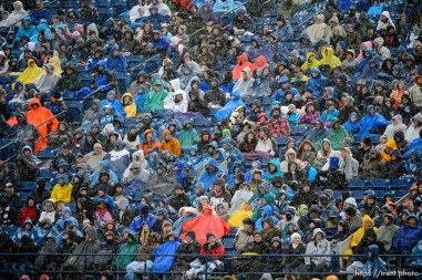 Trent Nelson | The Salt Lake Tribune The colors of BYU fans' ponchos in the rain, as BYU hosts Idaho State, college football at LaVell Edwards Stadium in Provo, Saturday November 16, 2013.