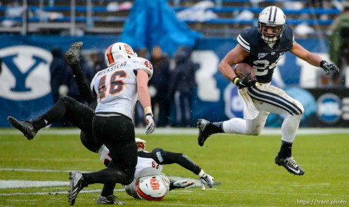 Trent Nelson | The Salt Lake Tribune Brigham Young Cougars running back Algernon Brown (24) runs the ball as BYU hosts Idaho State, college football at LaVell Edwards Stadium in Provo, Saturday November 16, 2013.
