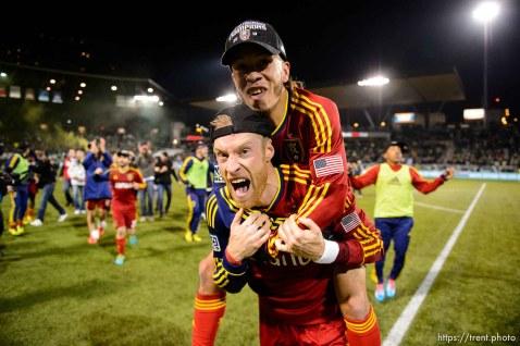 Trent Nelson | The Salt Lake Tribune RSL celebrates the win, as Real Salt Lake faces the Portland Timbers, MLS soccer Sunday November 24, 2013 in Portland. Real Salt Lake's Nat Borchers (6), Real Salt Lake's Sebastian Velasquez (26)
