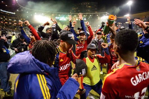 Trent Nelson | The Salt Lake Tribune RSL celebrates the win, as Real Salt Lake faces the Portland Timbers, MLS soccer Sunday November 24, 2013 in Portland.