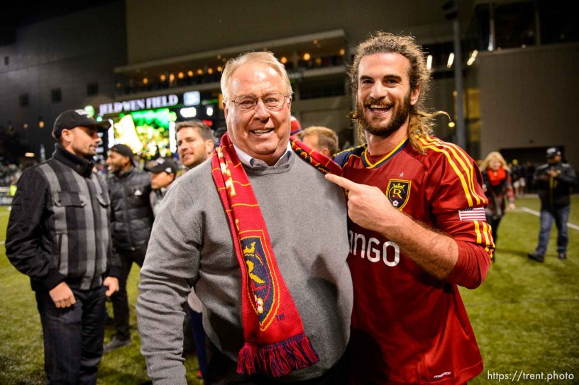 Trent Nelson | The Salt Lake Tribune Dell Loy Hansen and Real Salt Lake's Kyle Beckerman (5) as Real Salt Lake faces the Portland Timbers, MLS soccer Sunday November 24, 2013 in Portland.
