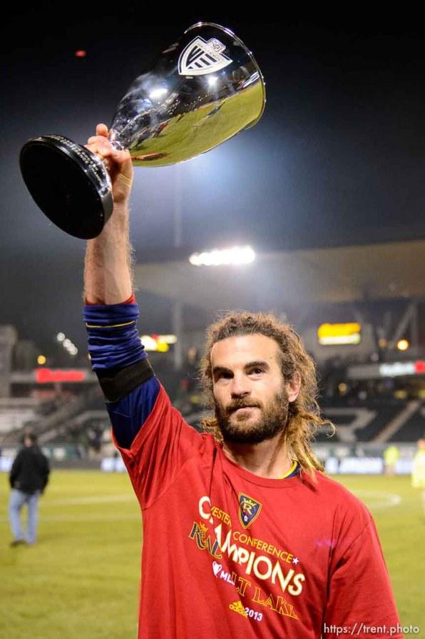 Trent Nelson | The Salt Lake Tribune Real Salt Lake's Kyle Beckerman (5) holds aloft the trophy after Real Salt Lake defeated the Portland Timbers, MLS soccer Sunday November 24, 2013 in Portland.
