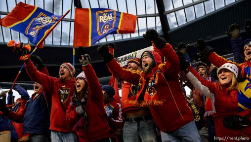 Trent Nelson | The Salt Lake Tribune RSL fans celebrate a goal by Alvaro Saborio as Real Salt Lake is defeated by Sporting KC in the MLS Cup Final at Sporting Park in Kansas City, Saturday December 7, 2013.