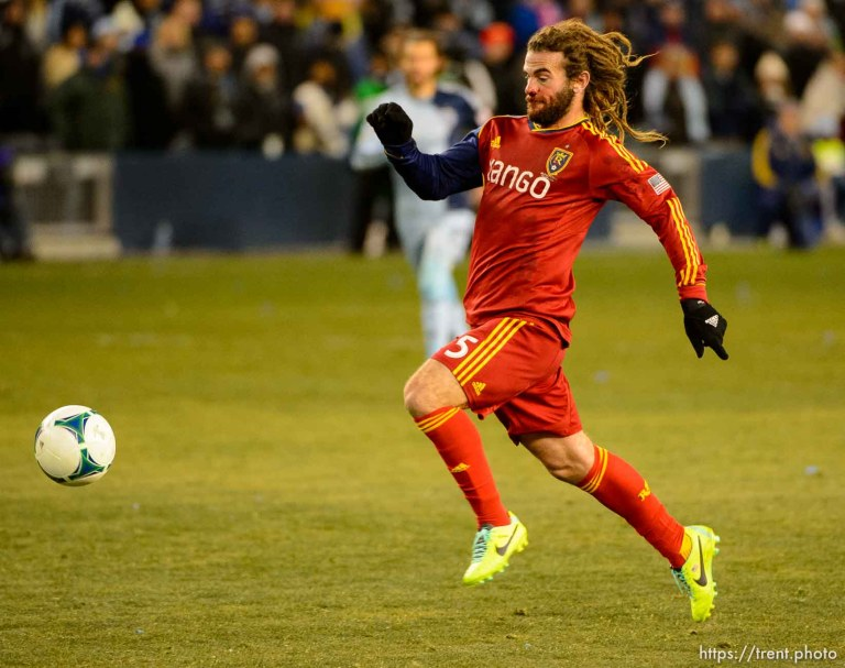 Trent Nelson | The Salt Lake Tribune Real Salt Lake's Kyle Beckerman (5) with the ball as Real Salt Lake faces Sporting KC in the MLS Cup Final at Sporting Park in Kansas City, Saturday December 7, 2013.