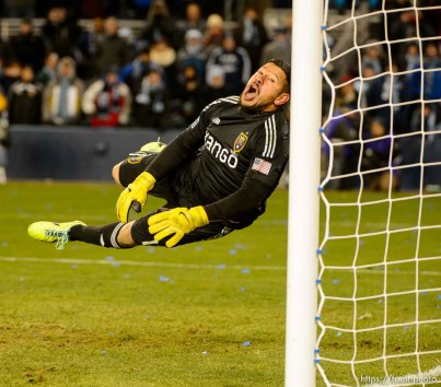 Trent Nelson | The Salt Lake Tribune Real Salt Lake's Nick Rimando (18) leaps for a save during the shootout as Real Salt Lake faces Sporting KC in the MLS Cup Final at Sporting Park in Kansas City, Saturday December 7, 2013.