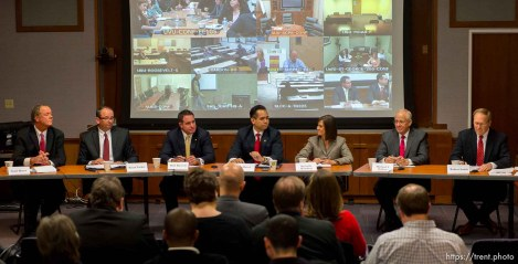 Trent Nelson | The Salt Lake Tribune Scott Burns, Brian Tarbet, Bret Rawson, Sean Reyes, Michelle Mumford, Michael J. Wilkins and Robert Smith are candidates to become the next Utah Attorney General after John Swallow's resignation. They participated in their only debate before the Saturday special election by the State Central Committee. The committee sends the top three to the governor who chooses the new Attorney General to serve until after the Nov. 2014 election. Projected on the screen are committee members in various locations around the state watching and asking questions, Wednesday December 11, 2013 in Salt Lake City.