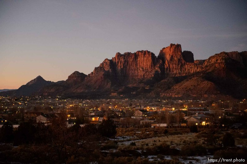 Trent Nelson | The Salt Lake Tribune The sun sets on on Hildale and Colorado City Saturday December 14, 2013.