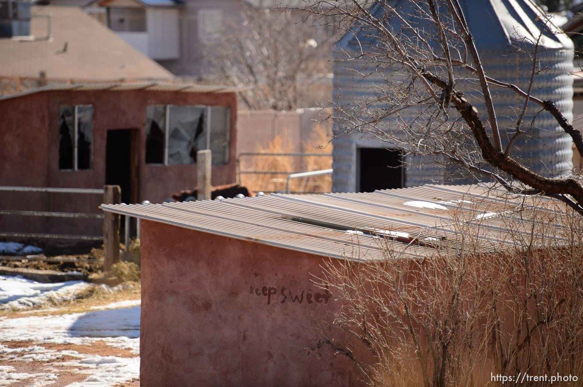 Trent Nelson | The Salt Lake Tribune Keep Sweet, a common FLDS phrase, written on a building in Hildale Sunday December 15, 2013.