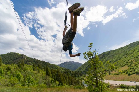 Trent Nelson | The Salt Lake Tribune Shane Finch takes flight at Max Zipline, in Provo Canyon, Saturday May 31, 2014.