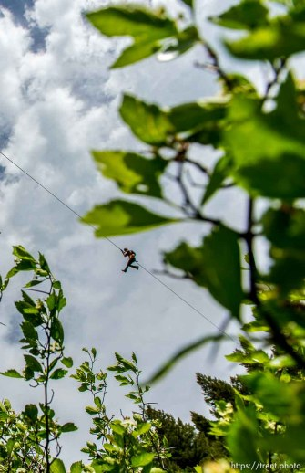 Trent Nelson   The Salt Lake Tribune A rider at Max Zipline, in Provo Canyon, Saturday May 31, 2014.