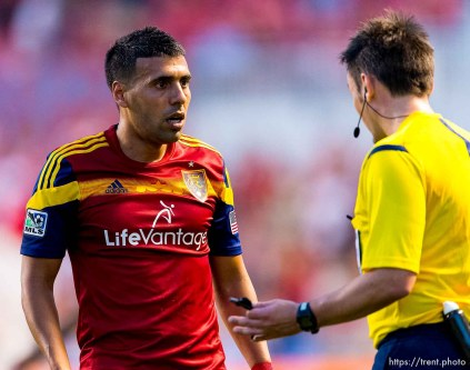 Trent Nelson | The Salt Lake Tribune Real Salt Lake's Javier Morales (11) jaws with the ref as Real Salt Lake hosts Vancouver Whitecaps FC at Rio Tinto Stadium in Sandy, Saturday July 19, 2014.